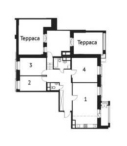 Планировка 4-комнатной квартиры в Лайково - тип 2